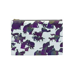 Many Cats Silhouettes Texture Cosmetic Bag (medium)