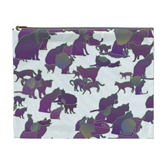 Many Cats Silhouettes Texture Cosmetic Bag (xl)