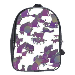 Many Cats Silhouettes Texture School Bags(Large)
