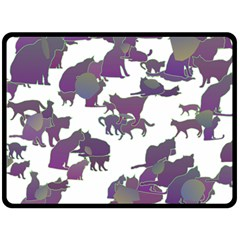 Many Cats Silhouettes Texture Fleece Blanket (large)