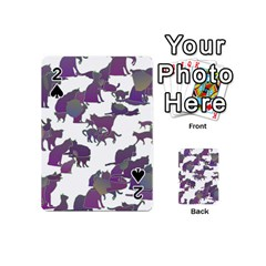 Many Cats Silhouettes Texture Playing Cards 54 (mini)