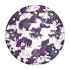Many Cats Silhouettes Texture Ornament (round Filigree)