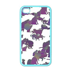 Many Cats Silhouettes Texture Apple Iphone 4 Case (color)