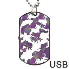 Many Cats Silhouettes Texture Dog Tag Usb Flash (one Side)