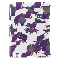 Many Cats Silhouettes Texture Apple Ipad 3/4 Hardshell Case (compatible With Smart Cover)
