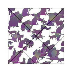 Many Cats Silhouettes Texture Acrylic Tangram Puzzle (6  X 6 )