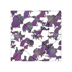 Many Cats Silhouettes Texture Acrylic Tangram Puzzle (4  X 4 )