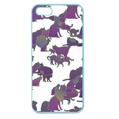 Many Cats Silhouettes Texture Apple Seamless Iphone 5 Case (color)