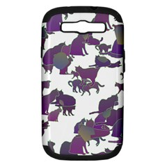 Many Cats Silhouettes Texture Samsung Galaxy S Iii Hardshell Case (pc+silicone)