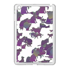 Many Cats Silhouettes Texture Apple Ipad Mini Case (white)