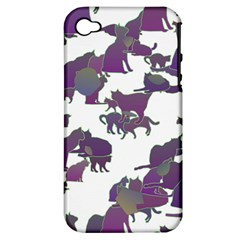Many Cats Silhouettes Texture Apple Iphone 4/4s Hardshell Case (pc+silicone)