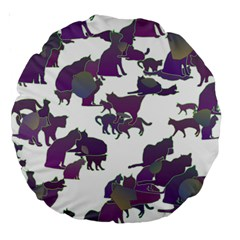Many Cats Silhouettes Texture Large 18  Premium Round Cushions