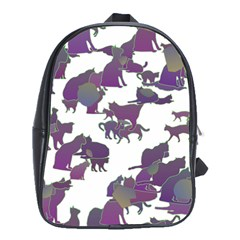 Many Cats Silhouettes Texture School Bags (xl)