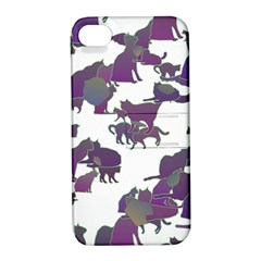 Many Cats Silhouettes Texture Apple Iphone 4/4s Hardshell Case With Stand