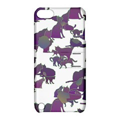 Many Cats Silhouettes Texture Apple Ipod Touch 5 Hardshell Case With Stand