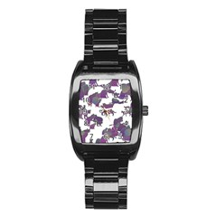 Many Cats Silhouettes Texture Stainless Steel Barrel Watch