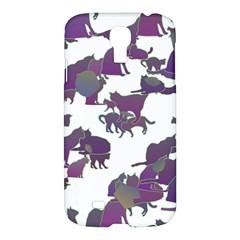 Many Cats Silhouettes Texture Samsung Galaxy S4 I9500/i9505 Hardshell Case