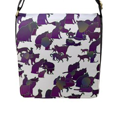 Many Cats Silhouettes Texture Flap Messenger Bag (l)