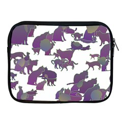 Many Cats Silhouettes Texture Apple Ipad 2/3/4 Zipper Cases