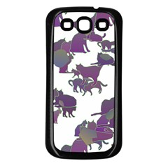 Many Cats Silhouettes Texture Samsung Galaxy S3 Back Case (black)
