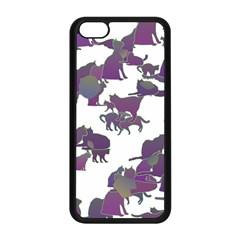 Many Cats Silhouettes Texture Apple iPhone 5C Seamless Case (Black)