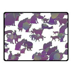 Many Cats Silhouettes Texture Double Sided Fleece Blanket (small)