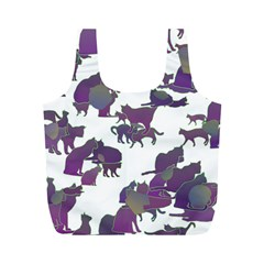 Many Cats Silhouettes Texture Full Print Recycle Bags (m)