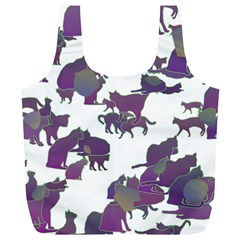 Many Cats Silhouettes Texture Full Print Recycle Bags (l)