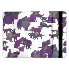 Many Cats Silhouettes Texture Samsung Galaxy Tab Pro 12.2  Flip Case