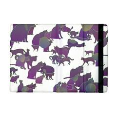 Many Cats Silhouettes Texture Ipad Mini 2 Flip Cases