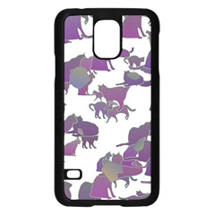 Many Cats Silhouettes Texture Samsung Galaxy S5 Case (black)