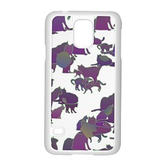 Many Cats Silhouettes Texture Samsung Galaxy S5 Case (white)