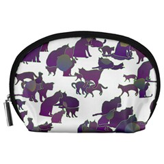 Many Cats Silhouettes Texture Accessory Pouches (large)