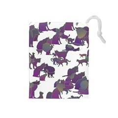 Many Cats Silhouettes Texture Drawstring Pouches (medium)
