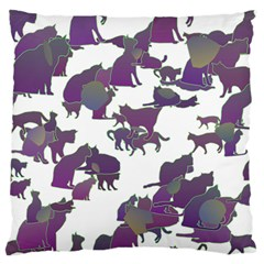 Many Cats Silhouettes Texture Large Flano Cushion Case (two Sides)