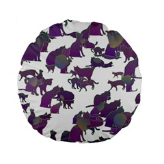 Many Cats Silhouettes Texture Standard 15  Premium Flano Round Cushions