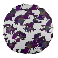 Many Cats Silhouettes Texture Large 18  Premium Flano Round Cushions