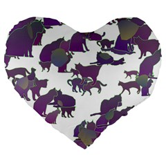 Many Cats Silhouettes Texture Large 19  Premium Flano Heart Shape Cushions