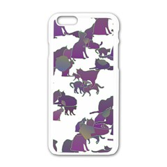 Many Cats Silhouettes Texture Apple iPhone 6/6S White Enamel Case