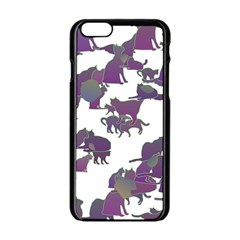 Many Cats Silhouettes Texture Apple Iphone 6/6s Black Enamel Case