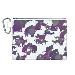 Many Cats Silhouettes Texture Canvas Cosmetic Bag (l)