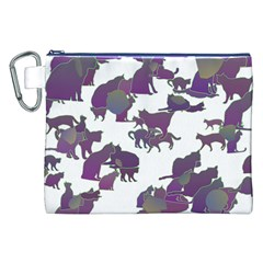 Many Cats Silhouettes Texture Canvas Cosmetic Bag (xxl)
