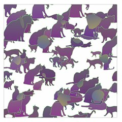 Many Cats Silhouettes Texture Large Satin Scarf (Square)