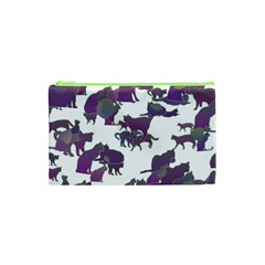 Many Cats Silhouettes Texture Cosmetic Bag (xs)