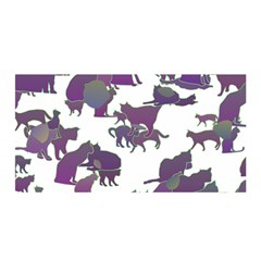 Many Cats Silhouettes Texture Satin Wrap
