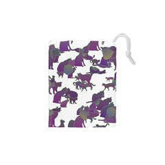 Many Cats Silhouettes Texture Drawstring Pouches (xs)