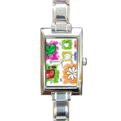 A Set Of Watercolour Icons Rectangle Italian Charm Watch