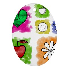 A Set Of Watercolour Icons Ornament (oval)