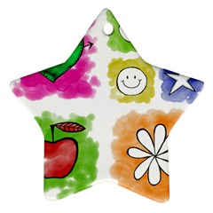 A Set Of Watercolour Icons Ornament (Star)