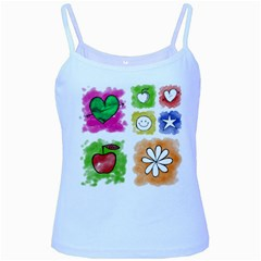 A Set Of Watercolour Icons Baby Blue Spaghetti Tank